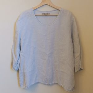 FLAX Light Gray Linen V Neck 3/4 Sleeves Top L